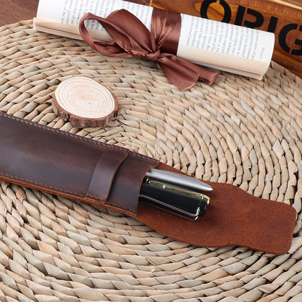 Leather Pen Holder Brown Fountain Pen Pouch Pencil Holder Handmade Ballpoint Pen Protective Sleeve Cover For Office College Univ 5