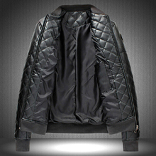 winter new plaid badge men PU leather jacket wadded jacket plus size fashion baseball Collar artificial leather clothing / M-6XL