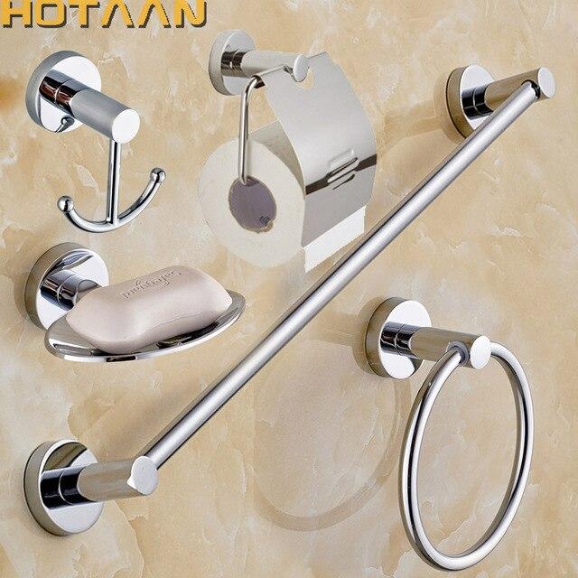Hotaan Stainless Steel Bathroom Accessories Set Robe Hook Paper
