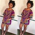 2016 Женщин Летом Случайные Короткий Рукав Богемной Платье Традиционной Африканской Печати Мини-Платье Bodycon Пляж Платья MQ572 Dashiki