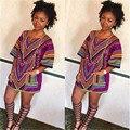 2016 Mulheres Verão Ocasional de Manga Curta Bohemian Vestido Dashiki Africano Tradicional de Impressão Mini Vestido Bodycon Vestidos de Praia MQ572