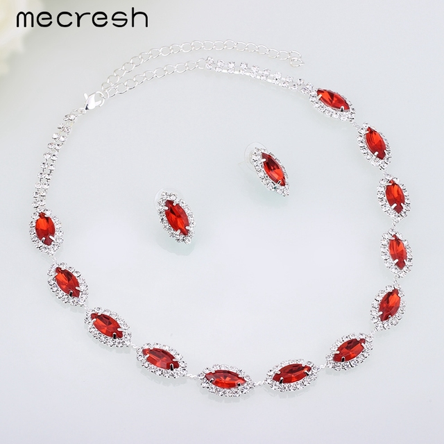 Mecresh Red Imitated Gemstone Bead African Bridal Silver Plated Wedding Jewelry Sets including Necklace and Earrings TL030