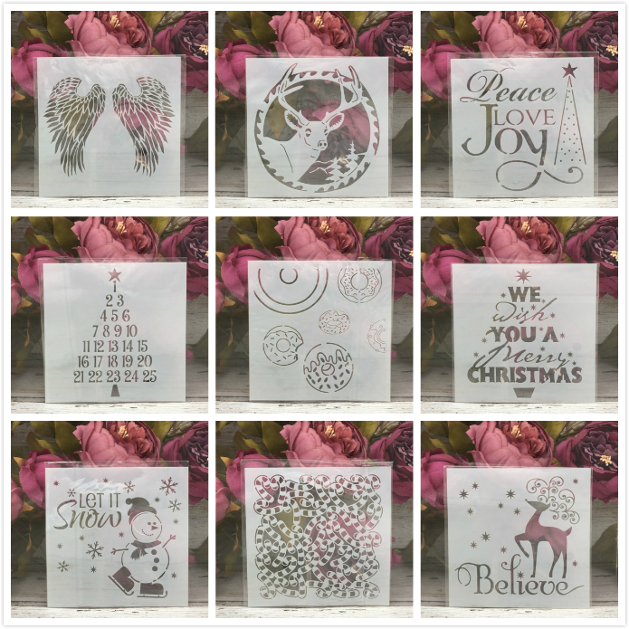9Pcs 13*13cm Merry Christmas Snowman DIY Layering Stencils Painting Scrapbook Coloring Embossing Album Decorative Card Template