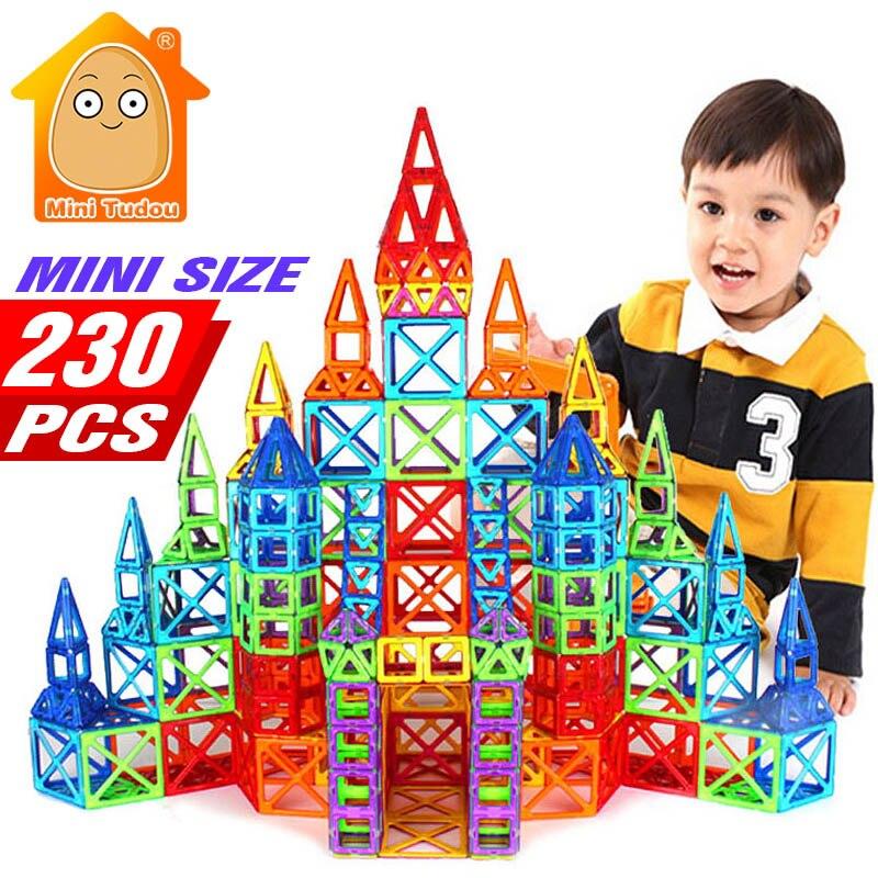 MiniTudou 230pcs Mini Magnetic Designer Construction Set Model & Building Toy Plastic Magnetic Blocks DIY Educational Toys qwz new 110pcs mini magnetic designer construction set model