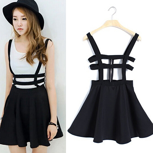 Women s Sexy Pleated Suspender Skirt Brace Hollow Out Bandage Mini Skater  5FDSWE6 07f04849e