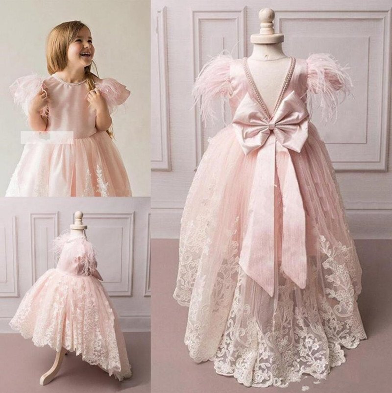 Newest Popular Princess   Dress   High Low   Flower     Girl     Dress   Jewel Neck with Beading Bow Feathers V-back Custom Made Pageant Gowns