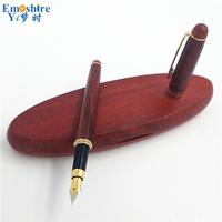Luxury Hot Selling Wooden Writing Fountain Pen For Gifts Decoration Copper Nib Red For Bussiness Sign And School P189