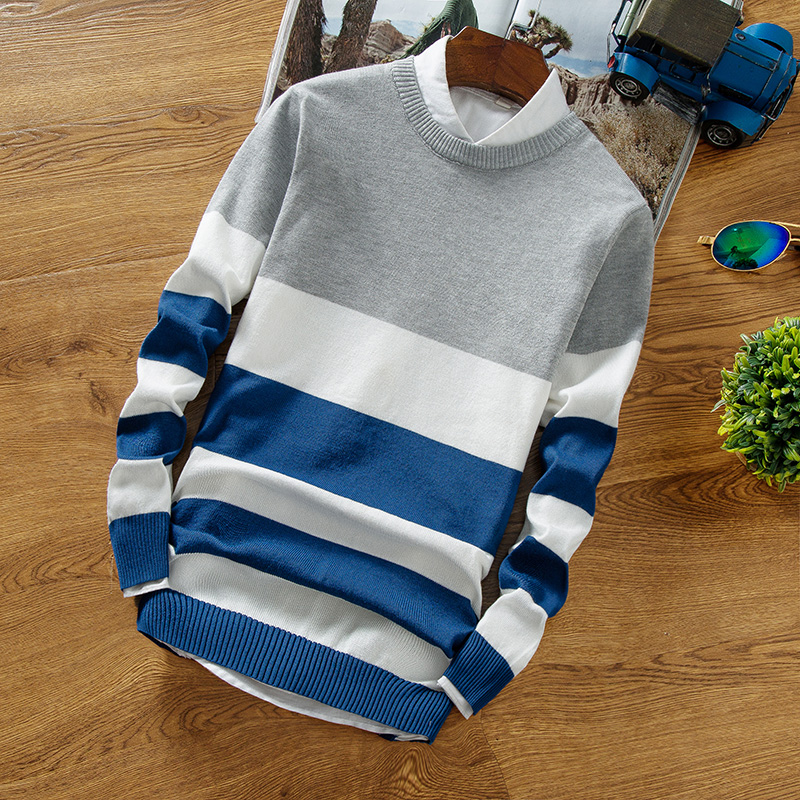 Fall 2018 men's wear striped sweater teenagers cultivate one's morality new thin sweater