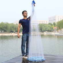 Folding Fishing Network Small Mesh Reinforced Seal Hand Cast Net Fishing Tools Portable Outdoor Hand Throw Network with Sinker