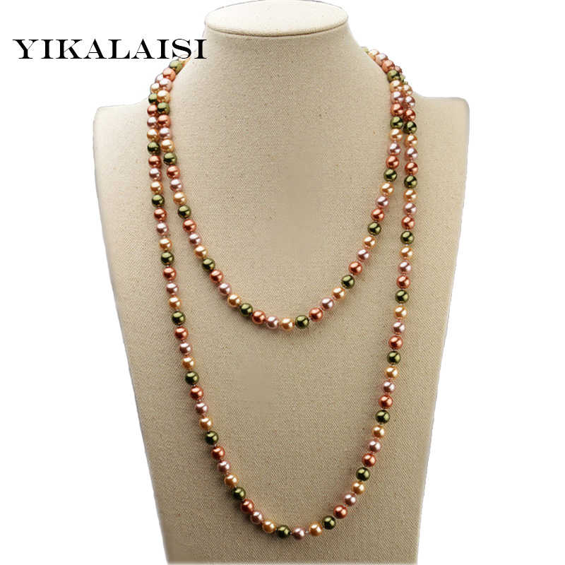 YIKALAISI Long Multilayer Pearl Necklace Mother Pearl Shellfish Necklaces Women Accessories Statement Necklace Jewelry For Women