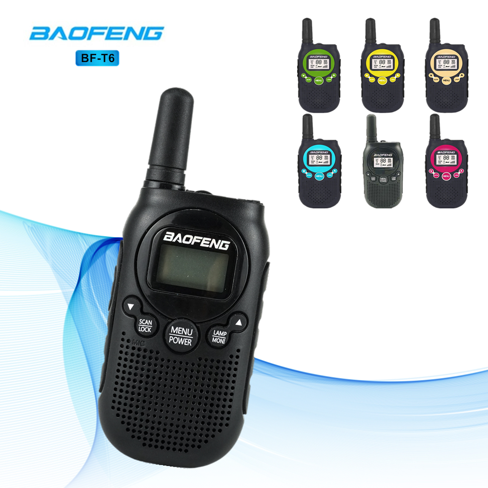 New Arrival Baofeng Walkie Talkie T6 0.5W FRS PMR Fashion Mini Handheld Two-Way Radio BF-T6  For Kids Toy Ham Radio Transceiver cb 8008