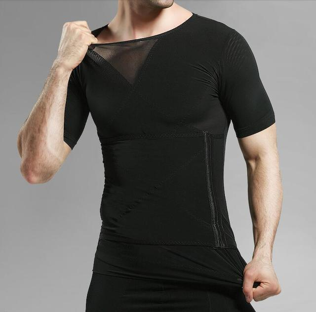 2pcs corset PRAYGER Shirt Men Slimming Waist Trainer Shaper Tummy Trimmer Top Control Belly Shapers Sleeves Body Shaper 3