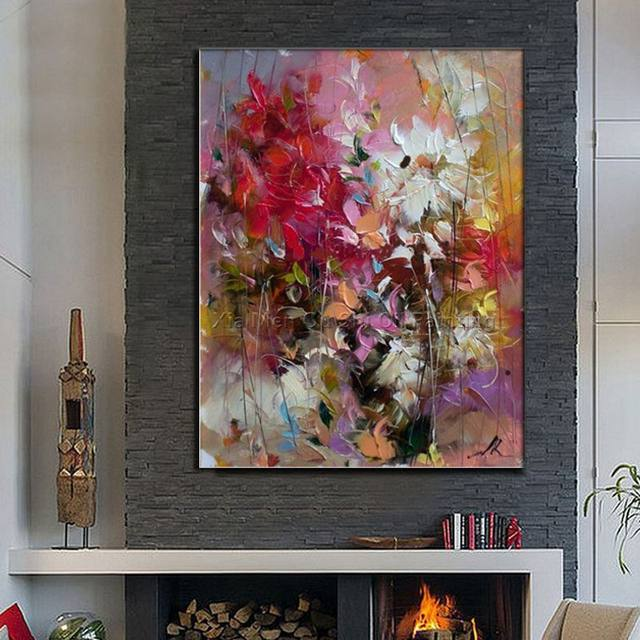 Online 100 Hand Painted Fl Purple Abstract Oil Painting Modern Wall Art Living Room No Frame Picture Home Decoration Aliexpress