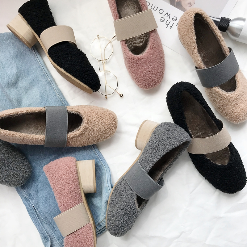 Strap Pumps Ladies Shoes Middle-Heels Mary Fashion Woman Winter 3cm Spring Wool