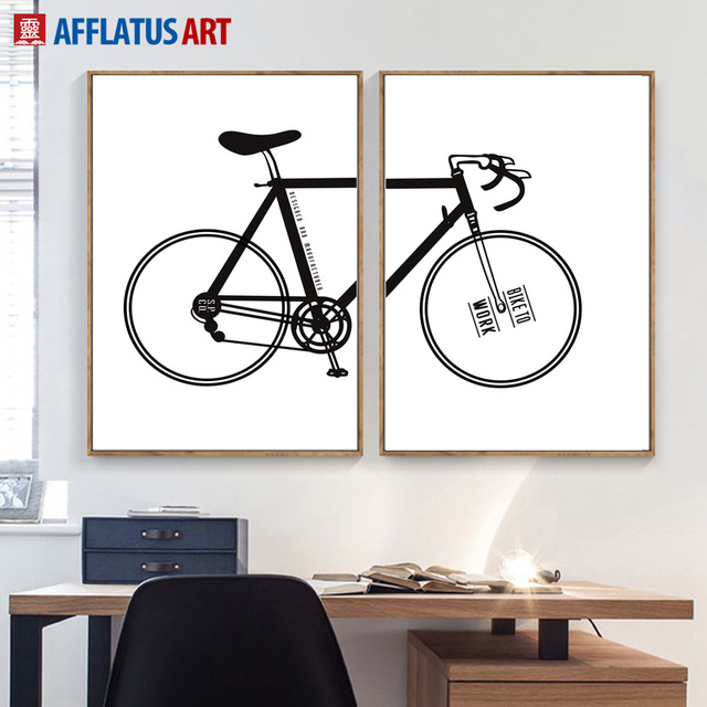 Nordic Minimalismus Cartoon Fahrrad Wand Kunst Leinwand Malerei