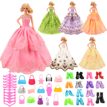 Doll Accessories 36 Items/Set=6Pcs Doll Clothes Dress Random Send+10 Shoes+10 Bags+10 Hangers Beautiful For Barbie Doll Toys 12 items 6 random wedding party gown dress clothes 6 necklace accessories for barbie doll fr kurhn kids toys christmas gift