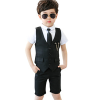 Gentleman Boy Formal Wedding Party Costume School Suit for Kids Tuxedo Shirts Waistcoat Shorts Ties Suit 4Pcs/set Prom Dress