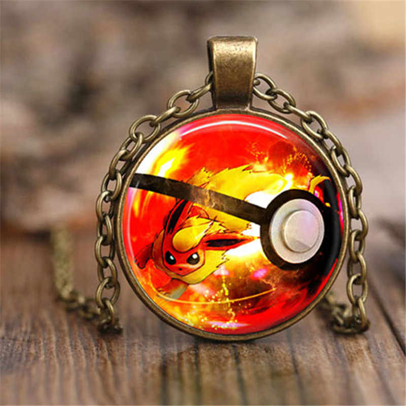 Flareon  Necklace Eeveelution Pendant Cute Pikachu Jewelry Girls Glass Cabochon Necklace