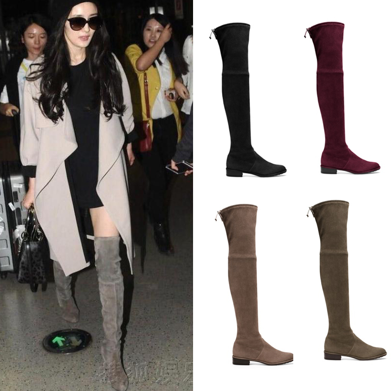 Factory Price Women Sexy Thigh High Boots Suede Leather Exquisite Slip On Long Boots Fashion Slim Stretch Winter Shoes women stretch fabric faux suede patchwork sexy thigh high boots comfort block heel female footwear slip on flower printed shoes