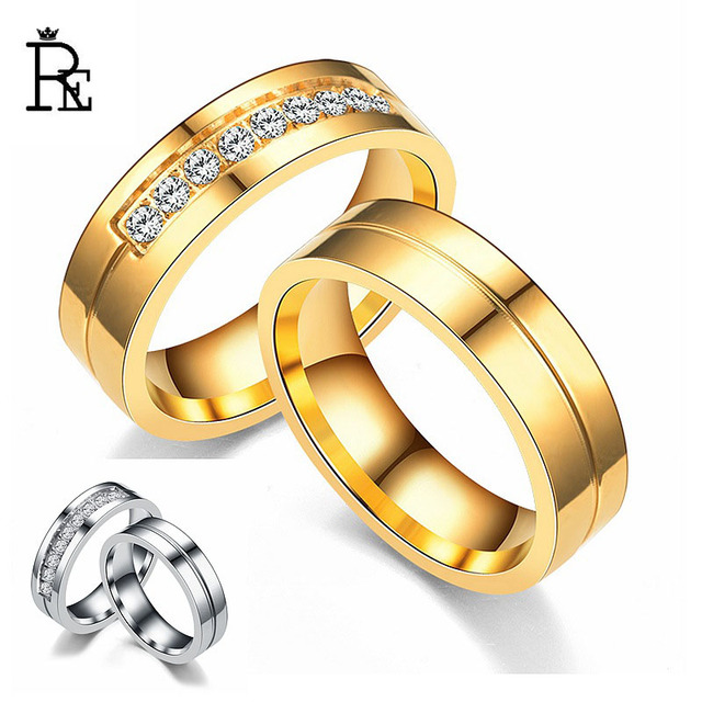 f7cb55b825 Gold/siver stainless steel zirconia couple rings women men wedding band love  ring jewelry J35