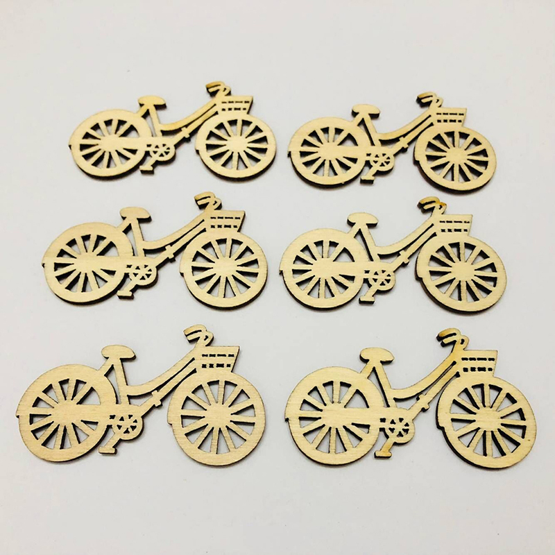 Symbol Of The Brand 10pcs Wooden Bicycle Bike Cutout Veneers Slices Diy Crafting Ornament For Wedding Engagement Festival Theme Party Arts,crafts & Sewing Home & Garden