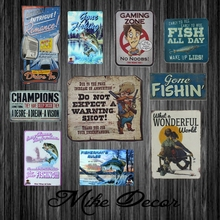 [ Mike Decor ] HUNT Style Fish Metal Sign Retro Gift Irregular Wall Plaque Home Store Party decor FZ-5