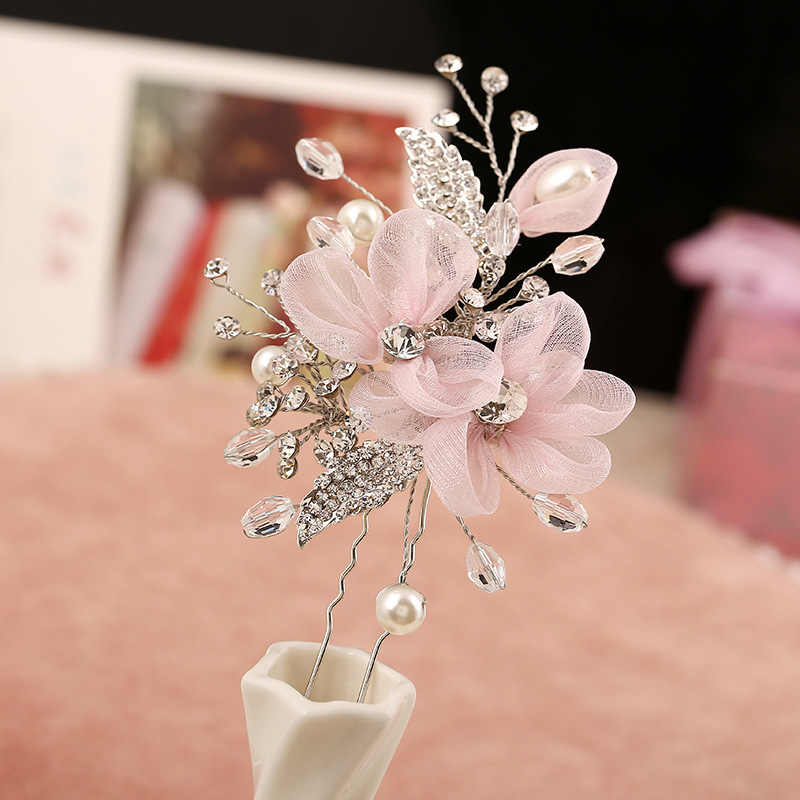 New Pink Lace Flowers Bride Hair Barrette Crystal Pearl Hair Pins Elegant Handmade Headpiece Bridesmaid Bridal Veil Hair Jewelry
