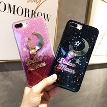 Kawaii Sailor Moon luna glitter Sequin Phone Case For iPhone cover X luxury fashion star Silicone Case For coque iPhone 8 7 plus