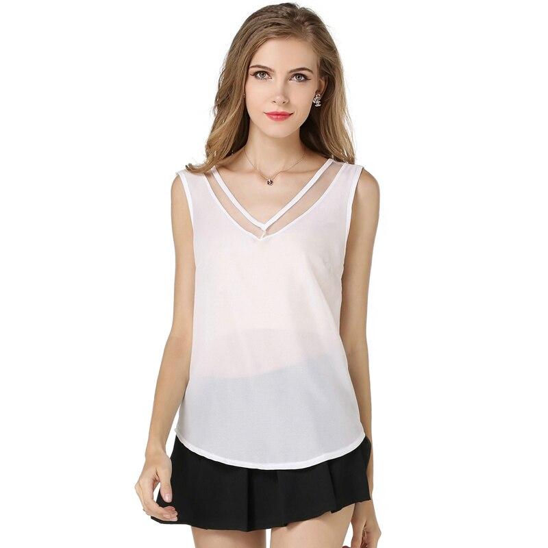 Nejnovější módní nové letní bez rukávů šifon košile límec vesta výstřih duté černé bílé ženy košile