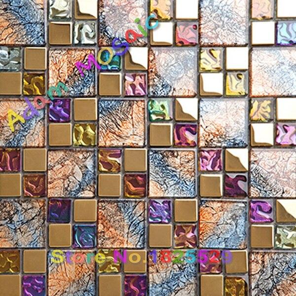Multi Gl Colored Tiles Luxury Bathroom Wall Mirror Rustic Iridescent Kitchen Backsplash Mosaic Tile Art