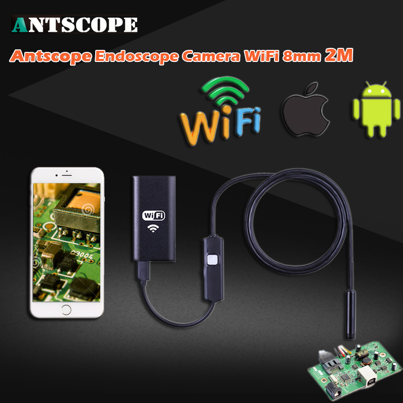WIFI Endoscope 720P 6 LED Waterproof Android IOS Iphone Wireless Endoscope Waterproof Inspection 8mm 2M Android Camera 35 wifi 4 9mm lens ear nose medical usb endoscope borescope inspection otoscope camera for ios android pc