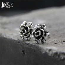 Фотография JINSE Authentic 100% 925 Sterling Silver Black Chrysanthemum Flower Stud Earrings Compatible with Pan Fashion Jewelry 8.50mm