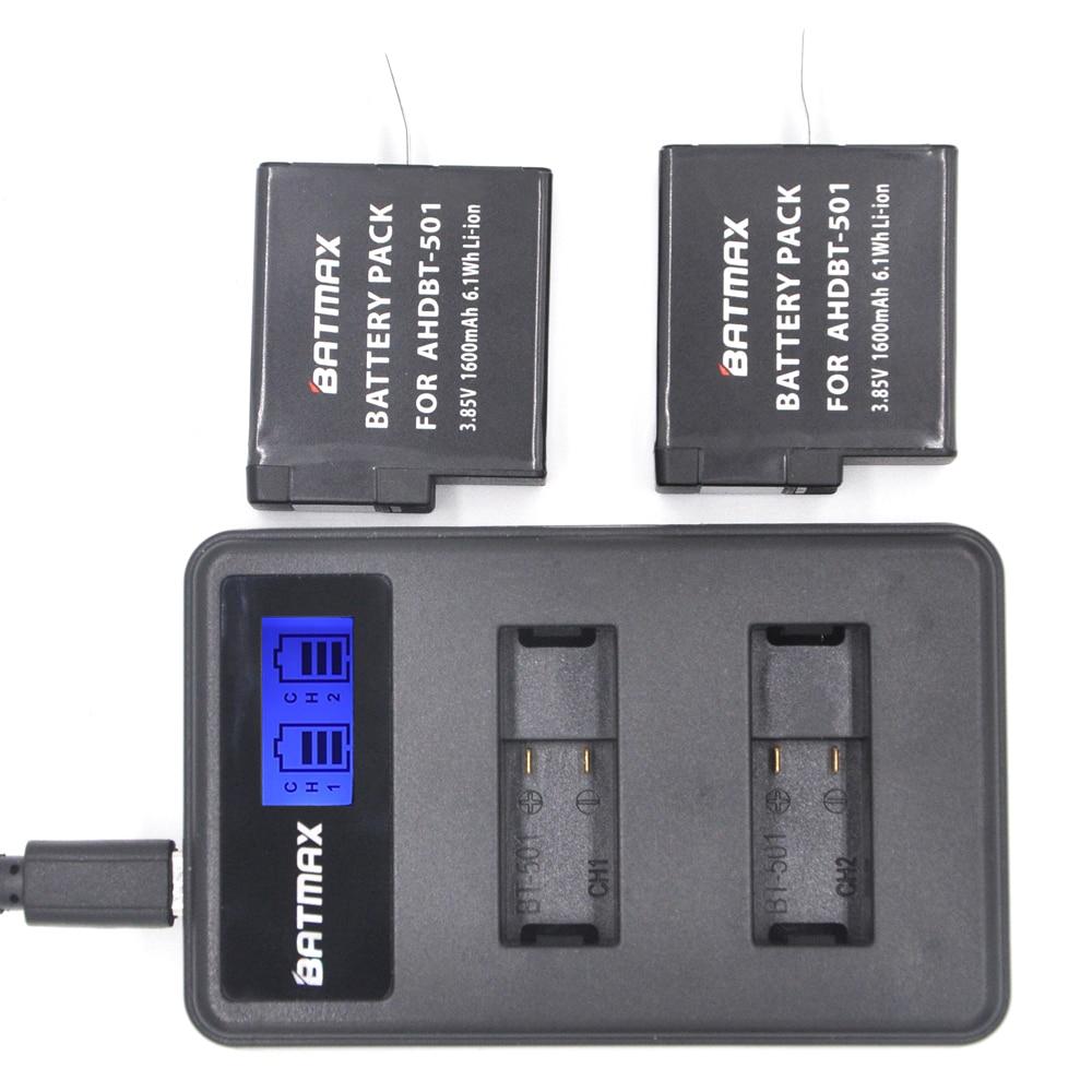 2pcs 3.85V 1600mAh Fully Decoded Gopro Hero 5 Battery Pack AHDBT-501 Akku and LCD Dual Charger for Gopro Hero5 4K Camera Bateria