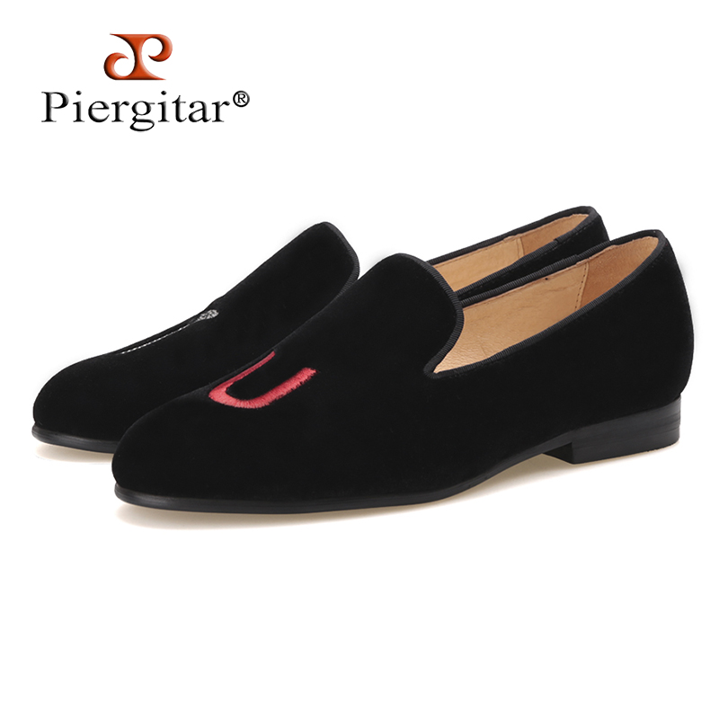 PIERGITAR New style woman Velvet Shoes with embroidered letter Party dress shoes Weddibng and Banquet women loafers women flats embroidered letter striped espadrille flats