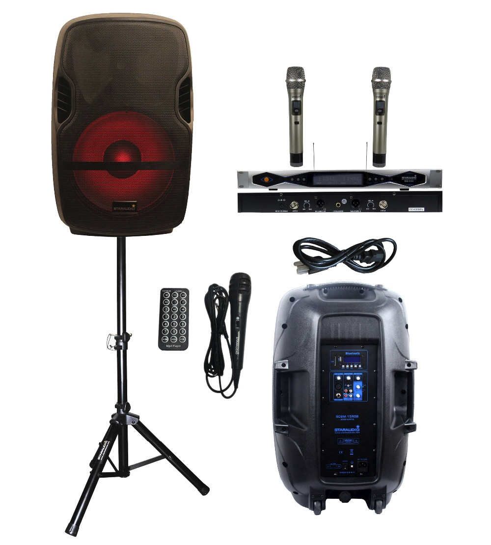 STARAUDIO 2000W 15PA DJ KTV Portable SCSM-15RGB Stage Karaoke Powered Active BT SD MP3 Speaker With LED Light Stand 2CH UHF Mic