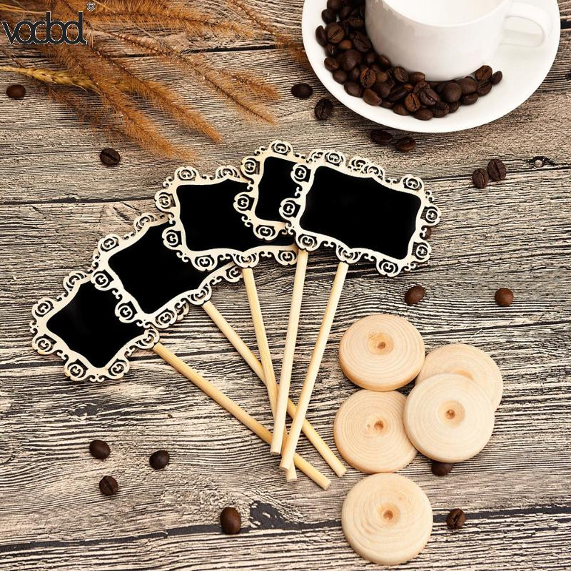 10Pcs/Lot Wooden Mini Black Board Rectangle DIY Direction Signs Decorative Chalkboard Stand Festival Party Wedding Supplies