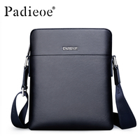 Padieoe Men's Real Cowhide Shoulder Bag Famous Brand Small Crossbody Bag High Quality Genuine Cow Leather Messenger Bag Hot Sale