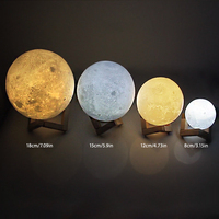 3D Print Moon Light LED Moon Lamp USB Night Light Rechargeable 2 Color Change Touch Switch