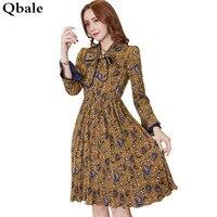 Qbale Elegant Women Printed Floral Dresses Long Sleeve Spring Summer 2017 Elegant Ladies Bow Collar Pleated