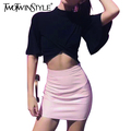 [TWOTWINSTYLE] Women Crop Top Stand Collar Short Flare Sleeve knot Hem Fashion T Shirt Ladies Sexy Tops