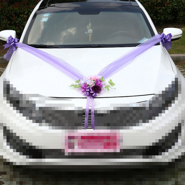 Wedding Car Decoration Artificial Flowers Fake Marriage Wreath Sets Pompoms Supplies Accessories