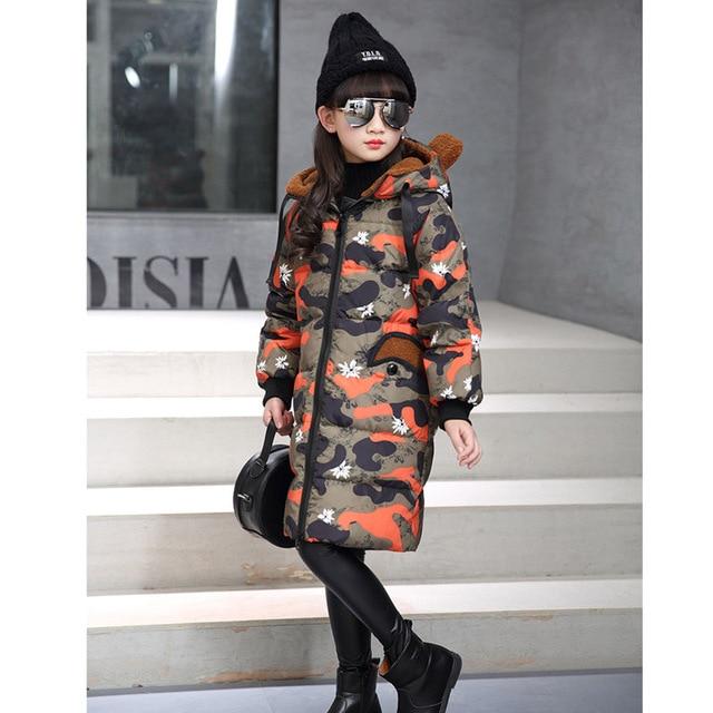Новые девушки камуфляж пуховик для девочки зима длинное пальто с капюшоном дети верхняя одежда девушка куртка пальто шинель-30 градусов куртка