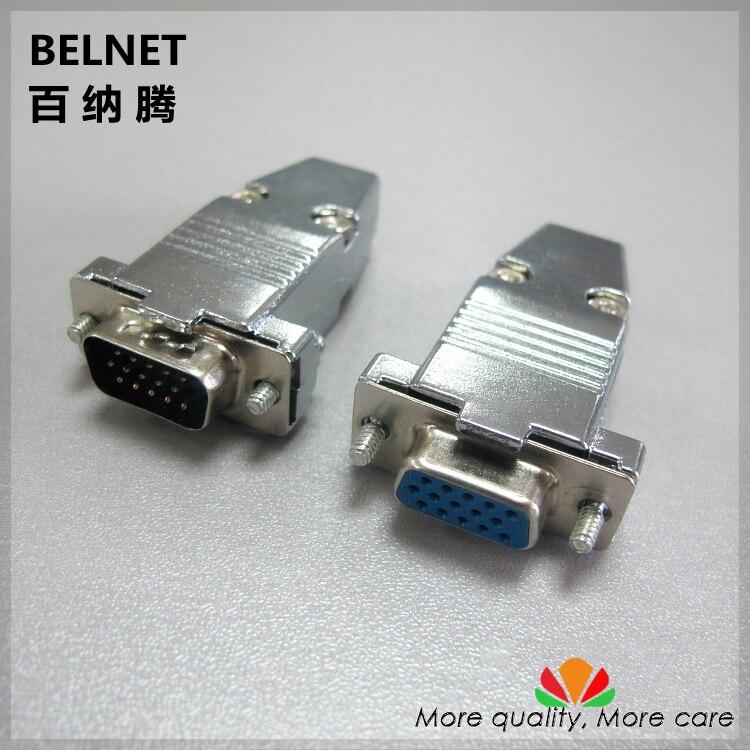 VGA plug 15-pin / hole Three rows DB15 female DB15 male welding head connector With metal shell 2pcs/lot