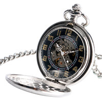 Necklace Stylish Steampunk Shield Self Winding Chain Skeleton Pocket Watch Automatic Mechanical Vintage Luxury Stripe
