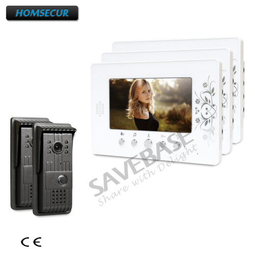 HOMSECUR 7inch Video Security System with Intra-monitor Audio Intercom for Apartment 2 Cameras + 3 Monitors