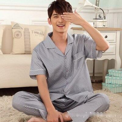dijual kualitas tinggi 2017 piyama merek pria katun pijama mens dot pakaian tidur musim panas kasual pengiriman gratis