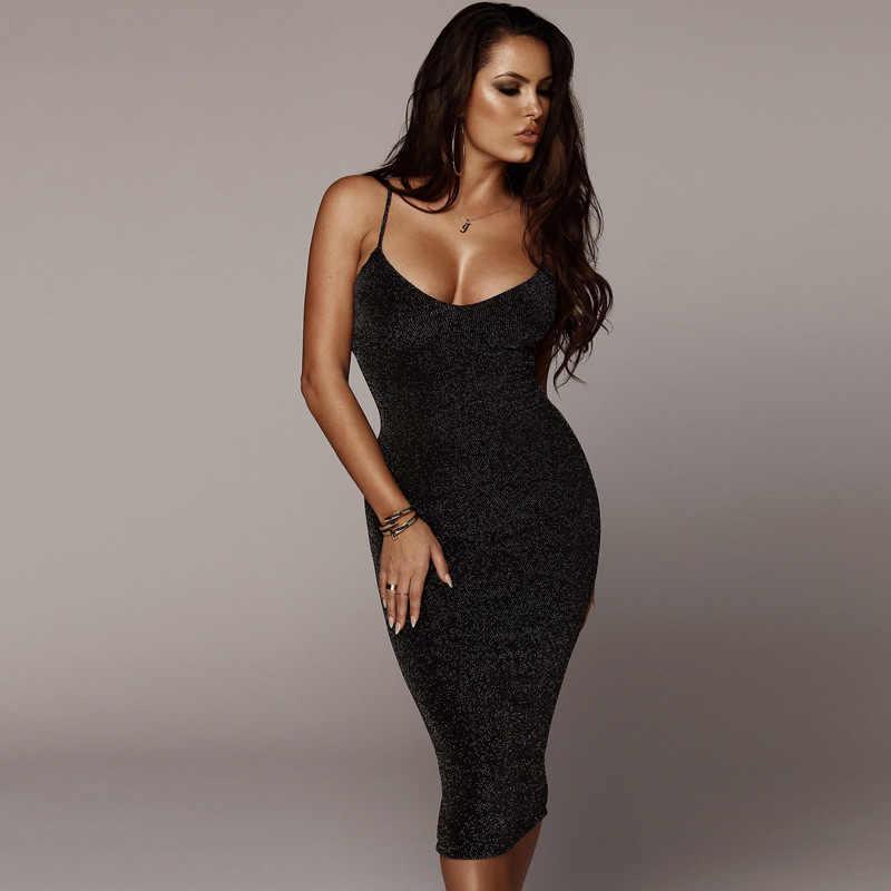 371863e9141495e Шикарное платье миди с люрексом на тонких бретельках, сексуальное  облегающее клубвечерние платье, летнее черное