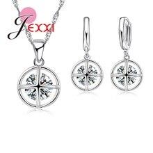 JEXXI Exquisita de Cristal Conjuntos de Joyas Para Las Mujeres Accesorios de La Boda Nupcial Plateado Plata Pendiente CZ Collares Pendientes