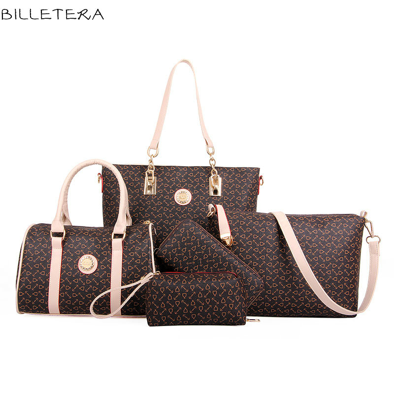 ФОТО BILLETERA Women Handbags  PU Shoulder Bag Big Volume Composite Set Blosas