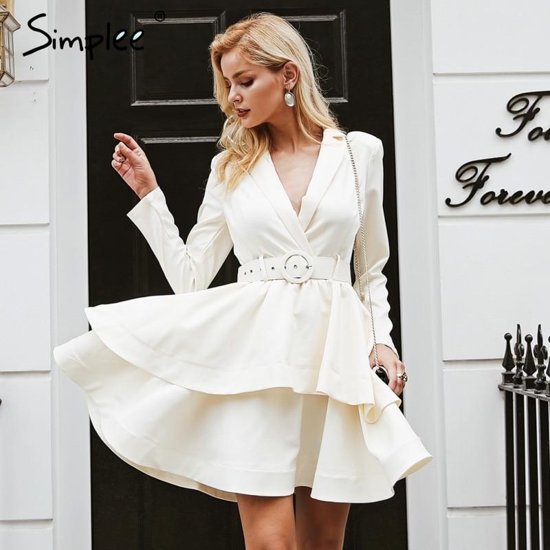 Simplee Elegant Ruffle Turndown Collar Party Dress Sash High Waist Women Dress Autumn Winter Long Sleeve Sexy Dresses Female